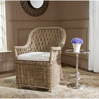 Safavieh Rural Woven Dining Maluku Kubu Soft Grey Rattan Arm Chair