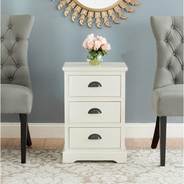 Safavieh Griffin White Storage 3 Drawer Side Table