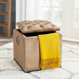 Safavieh Arturo Golden Olive Viscose Blend Storage Ottoman