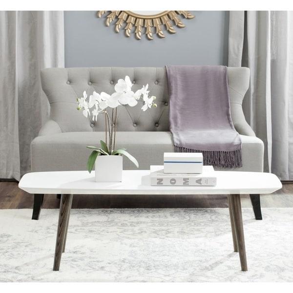 safavieh midcentury josiah white dark brown lacquer coffee table
