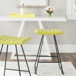 "Safavieh Mid-Century Dining Akito Modern Green 27-inch Counter Stool (Set of 2) - 16.5"" x 16"" x 26"""