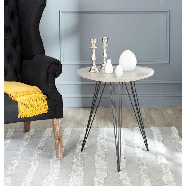 Safavieh Mid Century Wolcott Grey Black Side Table