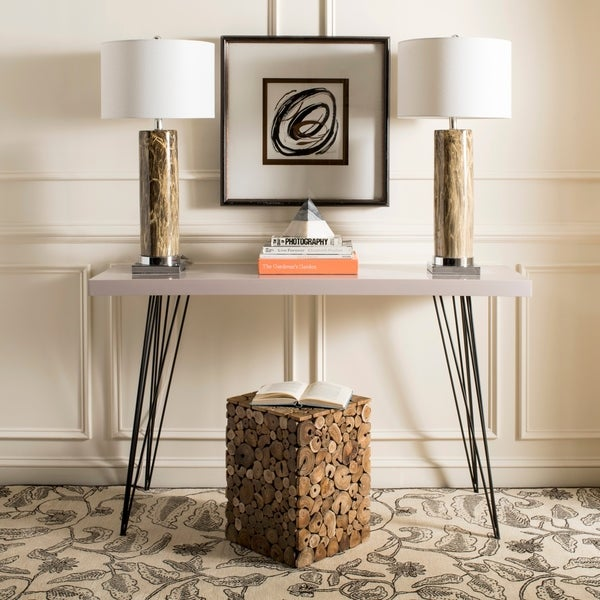 Safavieh Mid Century Wolcott Taupe Black Lacquer Console