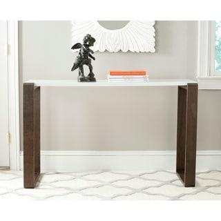 Safavieh Mid Century Modern Bartholomew White/ Dark Brown Lacquer Console  Table