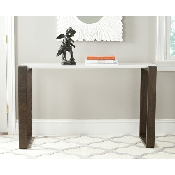 Safavieh mid century modern bartholomew white dark brown for Modern white lacquer console table