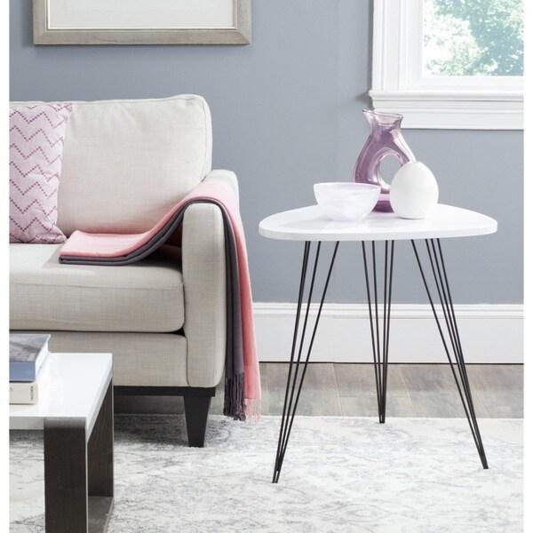 Safavieh Mid-Century Wynton White/ Black Lacquer Modern End Table