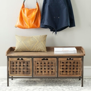 """Link to Safavieh Isaac Oak Finish Entryway Wooden Storage Bench - 42.5"""" x 15.5"""" x 20"""" Similar Items in Living Room Furniture"""