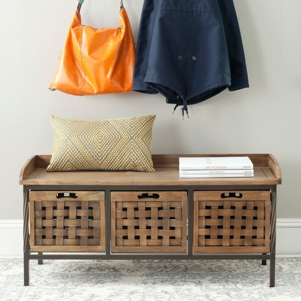 """Safavieh Isaac Oak Finish Entryway Wooden Storage Bench - 42.5"""" x 15.5"""" x 20"""". Opens flyout."""
