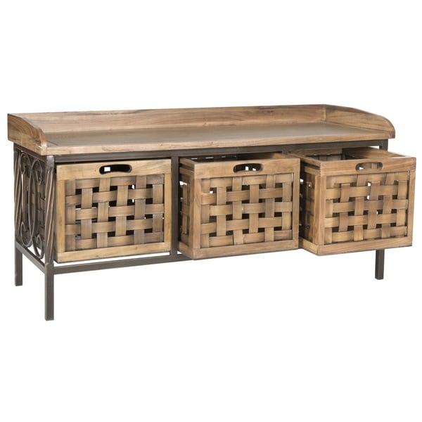 Shop Safavieh Isaac Oak Finish Entryway Wooden Storage Bench On