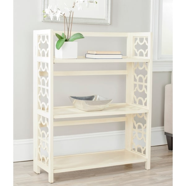 "Safavieh Natalie Antique White Low Bookcase - 33.5"" x 13.4"" x 42.5"". Opens flyout."
