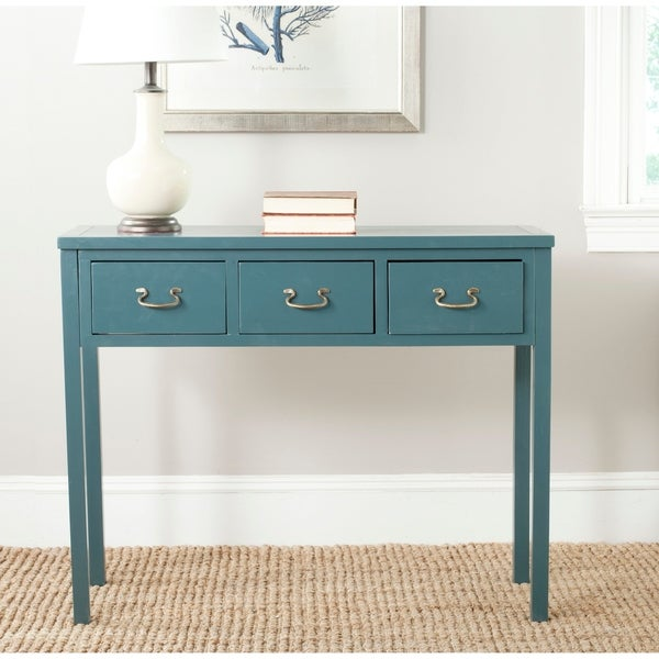 """Safavieh Cindy Teal 3-drawer Console Table - 39.4"""" x 14.2"""" x 31.7"""""""