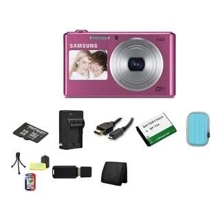 Samsung DV150F Dual View Smart Pink Digital Camera 16GB Bundle