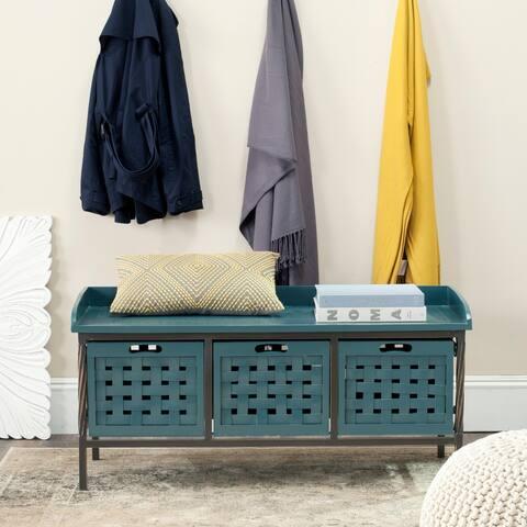 """Safavieh Isaac Teal Wooden Storage Bench - 42.5"""" x 15.5"""" x 20"""""""