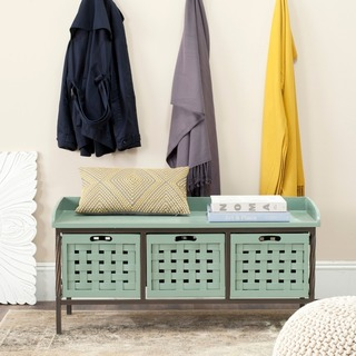 Safavieh Isaac Grey Wooden Entryway Storage Bench