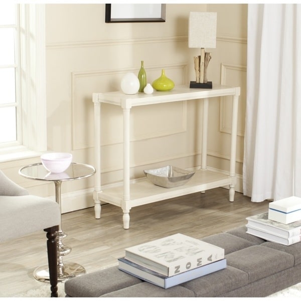 safavieh bela white console table