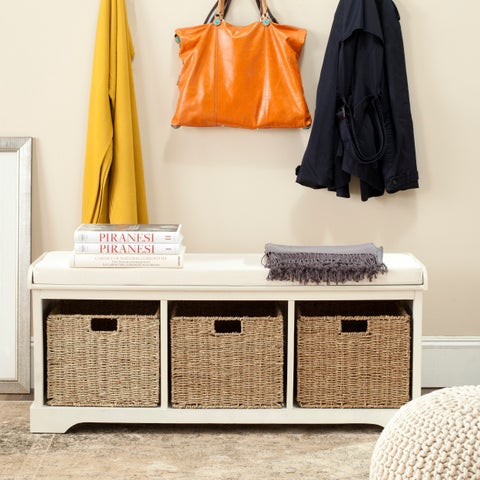 Safavieh Lonan White Cotton Storage Bench