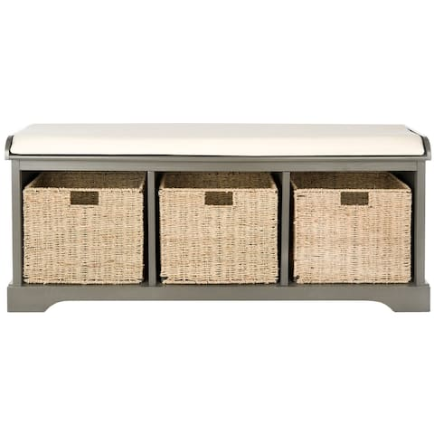 "Safavieh Lonan Grey/ White Storage Bench - 47"" x 16.1"" x 19.9"""