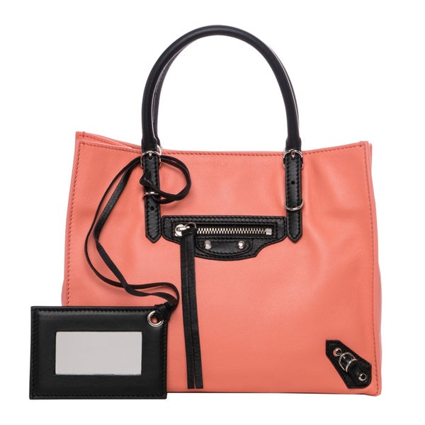 Balenciaga 'Mini Papier' Peach and Black Leather Tote