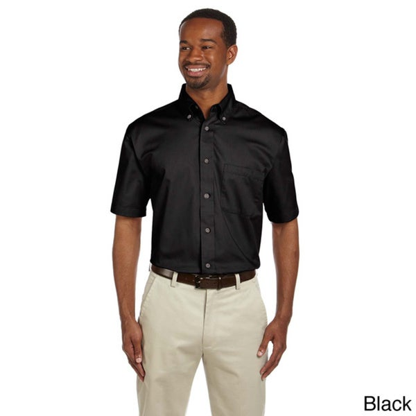 Mens Easy Blend Short Sleeve Twill Shirt with Stain-Release