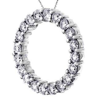 14k White Gold 3ct TDW Round Eternity Diamond Pendant