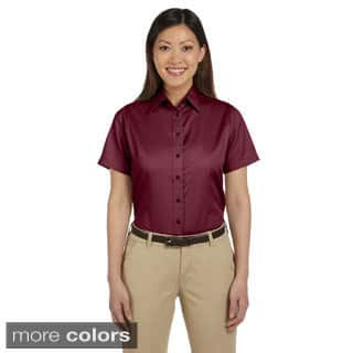 Harriton Women's Easy Blend Short Sleeve Twill Shirt with Stain-Release (As Is Item)|https://ak1.ostkcdn.com/images/products/9049072/Harriton-Womens-Easy-Blend-Short-Sleeve-Twill-Shirt-with-Stain-Release-P16245787.jpg?impolicy=medium