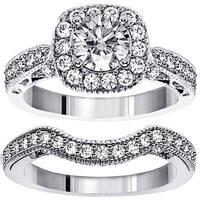 14k/ 18k Gold 2ct TDW Halo Brilliant-cut Diamond Bridal Ring Set