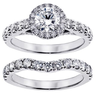 14k/ 18k Gold 3ct TDW Round Diamond Bridal Ring Set