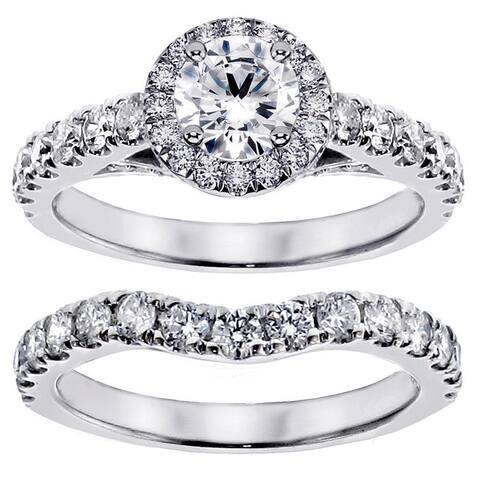 14k/ 18k Gold 3ct TDW Round Diamond Bridal Ring Set