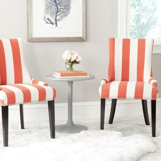 Safavieh En Vogue Dining Lester Orange/ White Stripe Dining Chairs (Set of 2)