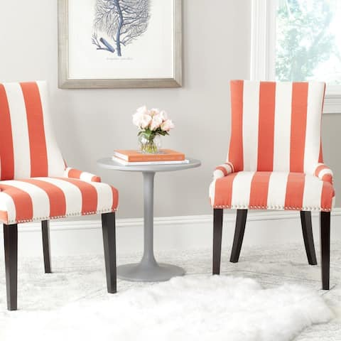 "Safavieh Dining Lester Orange/ White Stripe Dining Chairs (Set of 2) - 22""x24.8""x36.4"""