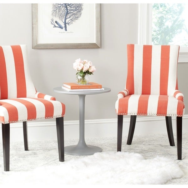 Safavieh En Vogue Dining Lester Orange/ White Stripe Dining Chairs (Set of 2)