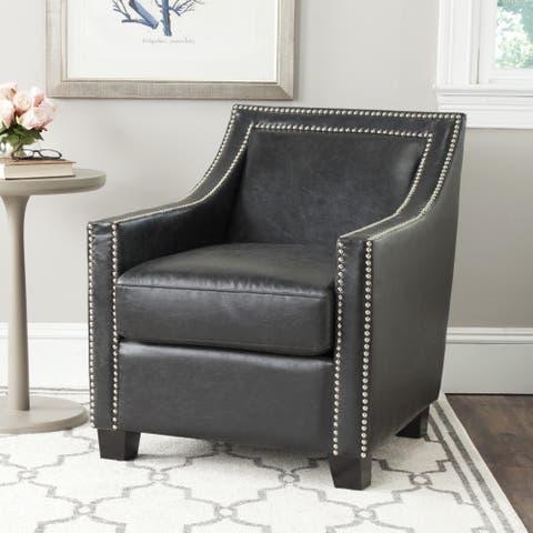"""SAFAVIEH Leandro Antique Black Club Chair - 26.8""""x32.7""""x30.9"""""""