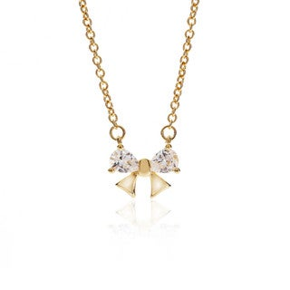 Blue Box Jewels Yellow Goldplated Sterling Silver Mini Ribbon Cubic Zirconia Pendant Necklace
