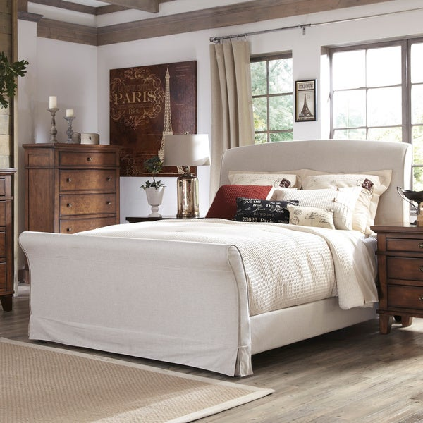 Signature Design By Ashley Burkesville Burnished Brown Upholstered Queen Sleigh Bed Free