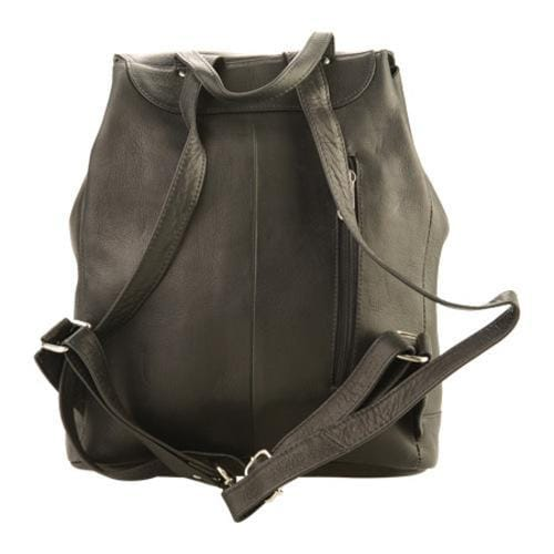 Piel Leather Large Oval Loop Backpack 3020 Black Leather - Thumbnail 1