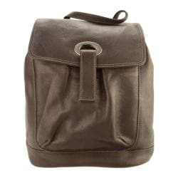 Piel Leather Large Oval Loop Backpack 3020 Chocolate Leather