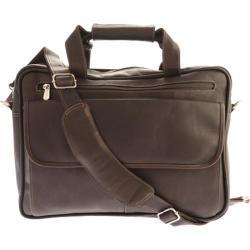 Piel Leather Slim Top-Zip Briefcase 3002 Chocolate Leather