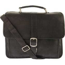 Piel Leather Small Flap-Over Laptop Brief 2991 Black Leather