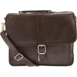 Piel Leather Small Flap-Over Laptop Brief 2991 Chocolate Leather