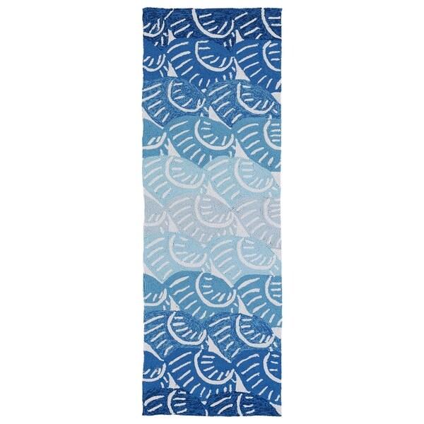 Indoor/Outdoor Luau Blue Seashell Rug - 2' x 6'