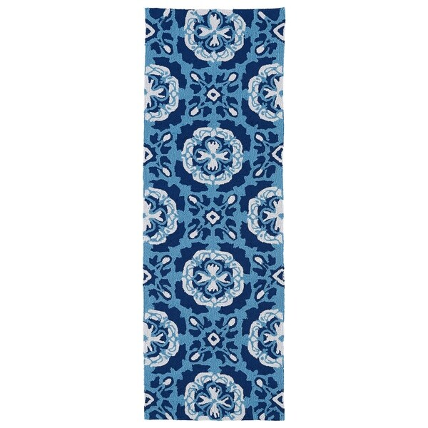 Indoor/Outdoor Luau Blue Paradise Rug (2' x 6') - 2' x 6'