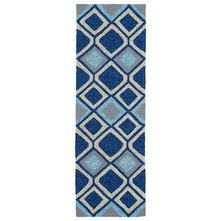 Indoor/Outdoor Fiesta Moroccan Blue Rug (2' x 6')