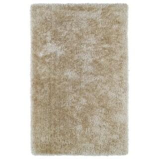 Hand-Tufted Silky Shag Beige Rug (5' x 7') - 5' x 7'