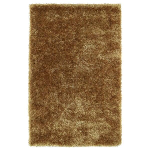 Hand-Tufted Silky Shag Gold Rug (3' x 5') - 3' x 5'