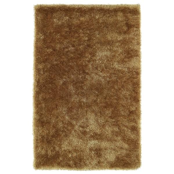 Hand-Tufted Silky Shag Gold Rug (8' x 10') - 8' x 10'