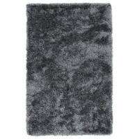 Hand-Tufted Silky Shag Grey Rug (3' x 5')