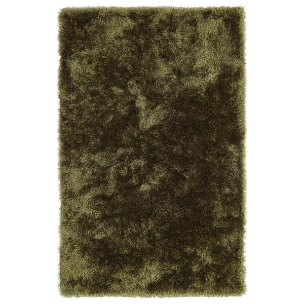Hand-Tufted Silky Shag Olive Rug (8' x 10')