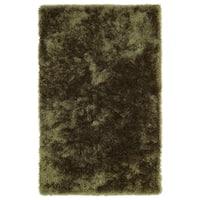 Hand-Tufted Silky Shag Olive Rug (8' x 10') - 8' x 10'