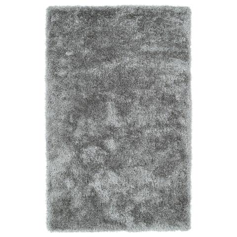Hand-Tufted Silky Shag Silver Rug (3' x 5') - 3' x 5'