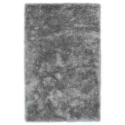 Hand-Tufted Silky Shag Silver Rug (9' x 12') - 9' x 12'